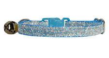 tela azul claro sparkle gato gatito collar seguridad 17.8 cm-25.4 cm cascabel