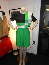 "VINTAGE Dress/Culottes KELLY GREEN with CREME&BLACK 34"" Bust 28"" WAIST"