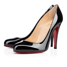 Christian Louboutin Ron Ron 100 Patent Calf Black Heels Shoes Courts Uk 3 Eu 36