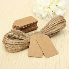 100X Brown Kraft Paper Tags Lace Scallop Head Label Luggage Wedding Note +String