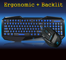 Aula BEFIRE Blue LED Backlit Gaming Keyboard + 7D 2000DPI Usb Gaming Mouse SET