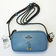 Coach DISNEY Mickey Bluejay Leather Crossbody Double Zip Top Pouch Handbag 56268