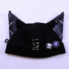 PAWSTAR Black Grey Gray Plaid Visual Kei Punk Goth JROCK pop Fox Wolf Anime Hat