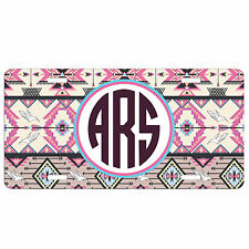 Personalized Car Tag - Monogrammed License Plate - Pink Aztec Hipster Tribal
