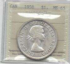 **1958**, ICCS Graded Canadian Silver Dollar **MS-65**