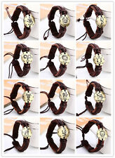 wholesale Lots 12pcs handmade zodiac styles braid hemp genuine leather bracelet