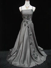 Cherlone Plus Size Grey Ballgown Wedding Evening Formal Bridesmaid Dress 26-28