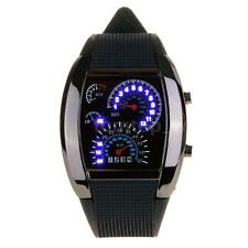 Casual Mens Black Rubber Racing F1 Blue White Light Sport Digital LED Watch I9V8