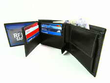 New RFID Protected Premium Quality Black Leather Wallet Credit Card Holder Purse