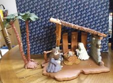 Enesco Bethlehem Experience 949949 Stable+Palm Tree+949930 Mary Joseph Jesus MIB