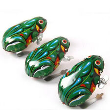 1 Wind Up Animal Jumping  Green Frog Retro Classic Clockwork Tin Toy Gifts New