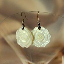 Boucles d`Oreilles Fleur Nacre Blanche Argent 925 Original Mariage Cadeau BB 7