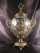 Rare German Art Nouveau Covered Punch Bowl Iris Etch Glass Brass Stand ca 1905
