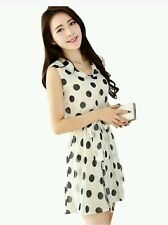 Lady Women Summer Chiffon Dress Polka Dot Sleeveless Dress