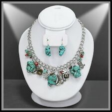 WESTERN cowgirl boot necklace set in turquoise, red, silver and beige