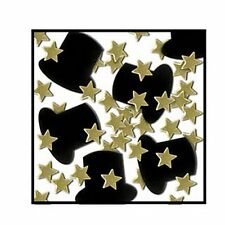 Black Top Hat and Gold Star Confetti - 28g Hollywood Movie Star Party Decoration
