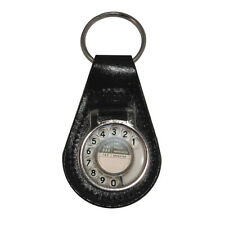 Retro Telephone Dial Silver Tone Black Leather Keyring BPO phone old style BN