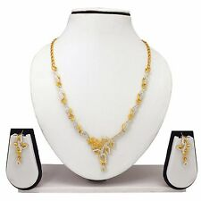 New Indian Bollywood Bridal Two Tone Necklace Earrings Fashion Jewelry Set