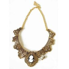 Rebecca Victorian Cameo Metal Lace Bib Necklace Gold US SELLER! Armoire Jolie