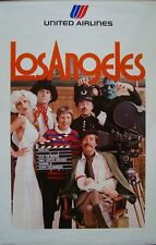 UNITED AIRLINES LOS ANGELES Vintage Travel poster 1975 25x40 HOLLYWOOD
