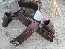 D.A.D CUSTOM LEATHER Double Draw Hand Tooled Western Cowboy Holster