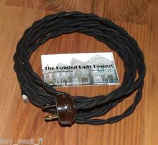 BLACK ~ 8' Vintage Lamp Cord ~ Twisted Cloth Covered Wire w/ Acorn Plug ~ by PLD