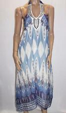 rogue Designer Blue Chiffon Halter Maxi Dress Size M BNWT #TB14