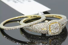 10K YELLOW GOLD .61 CARAT WOMENS REAL DIAMOND ENGAGEMENT RING WEDDING BAND SET