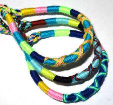Lot de 3 Bracelet brésilien Amitié coton Friendship Macramé Porte Bonheur bleu