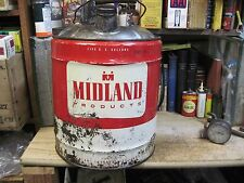 MIDLAND CO OP MOTOR OIL 5 US GALLON GAS CAN TIN FILLING STATION FARM petroleum