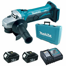 MAKITA 18V DGA452 ANGLE GRINDER, 2 x BL1830 BATTERIES, DC18RC CHARGER & CASE