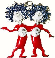 "Thing 1 Thing 2 Rhinestone Pendant Necklace with 16"" Chain"