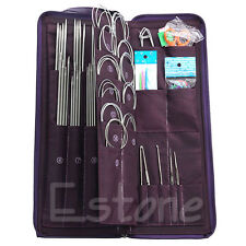 New 104pcs Stainless Steel Straight Circular Knitting Needles Crochet Hook Set