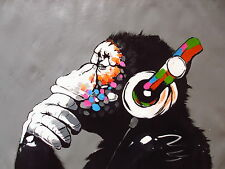 CANVAS Banksy Street Art Print DJ MONKEY chimp PAINTING 70cm