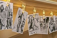 Auraglow Set of 20 Battery Operated Photo Clip Peg Wedding LED String Lights