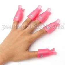 10 PC PLASTICA NAIL ART Immersione OFF Cap Clip UV GEL POLISH REMOVER Wrap Tool (P59)