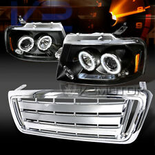 2004-2008 Ford F150 Black LED Halo Projector Headlights+Chrome Front Hood Grille