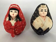 Authentic Japanese Hina Daruma couple, dolls set, 14cm, Japan import (D791)