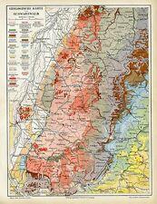 Schwarzwald Geologische Karte Baden Torf Karte von 1892 Format 24x32cm + Text