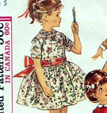 "Vintage 60s GIRLS DRESS Sewing Pattern Chest 23.5"" Party RETRO Collar FULL SKIRT"