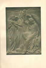 1898 VICTORIAN STUDIO PRINT ~ BRONZE PANEL FOR TOMB By F. W. POMEROY
