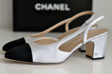 NIB CLASSIC 2016 CHANEL Two-Tone Silver Black Leather Slingbacks shoes EU 39