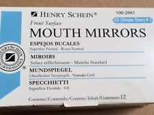 Dental Henry Schein  Mouth Mirror front surface simple stem #3  12/Box Miltex