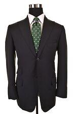 Isaia Napoli Black Super 130's Wool Hacking PEAK LAPEL Sport Coat Jacket 50 40 R