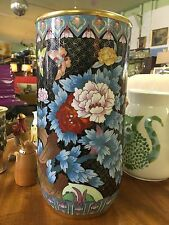 """Large Vintage Chinese Cloisonné Enamel Floral Butterfly Tall Vase 12+"""" Beautiful"""