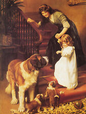 SAINT BERNARD LADY AND SMALL CHILD LOVELY VINTAGE IMAGE DOG GREETINGS NOTE CARD