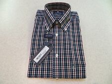 NWT Mens REG 14 1/2  32/33 STAFFORD TRAVEL EASY CARE BROADCLOTH NAV TARTAN Shirt