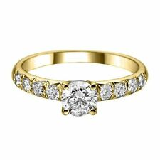 18ct Yellow Gold Brilliant Round shoulder Set 1ct Natural Prestige Diamond ring