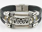 Fashion Jewelry Surfer Tribal Black Leather Bracelet Wristband Women w/Buckle #2