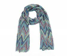 Turquoise Green & Blue Aztec Zig Zag Print Scarf Wrap Shawl Christmas Gift BNWT